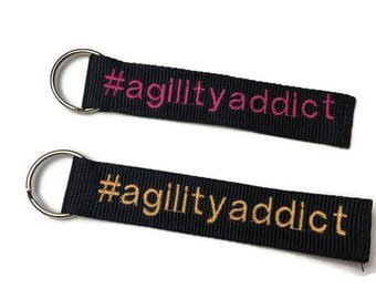 Agility Addict Dog Themed Key Chain