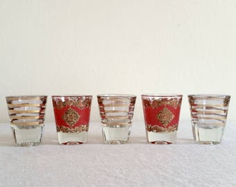 Retro Gold and Red Shot Glasses, Set of 5, Vintage 1950s 1960s Barware, Starlyte Shot Glasses