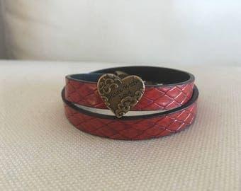 Dark red leather bracelet