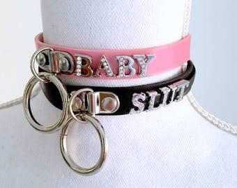 Mature-Custom collar- pink/black/custom color DDLG/BDSM choker. Choose your word...sl*t, daddys girl, princess...anything.(vegan leather)
