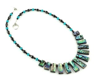 Paua Shell, Black Spinel and Black Onyx Necklace (A+ Quality)
