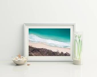 Wanderlust Print// Beach Print // Digital Beach Photo // Beach Aerial Photo // Ocean Photo //  surf photo // Wall decor /