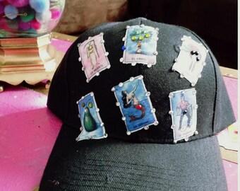 Black Mexican loteria hat / cap