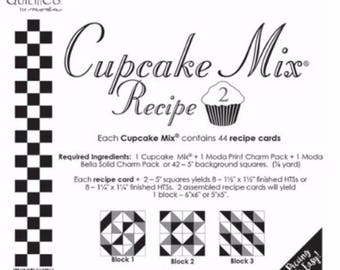 Cupcake Mix Recipe 2 by Miss Rosie's Quilt Co. for Moda Fabrics - Use With Moda Charm Packs - Each Recipe Pad contains 44 Recipe Cards