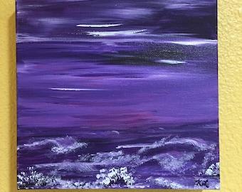 Purple Ocean Sunset Original Acrylic Painting 8 x 8 inch