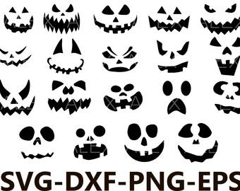 70% OFF, Pumpkin Faces  Svg, Halloween png, eps, svg, dxf, Halloween Clipart, Halloween Svg Silhouettes, Silhouette Files, Cut Png File