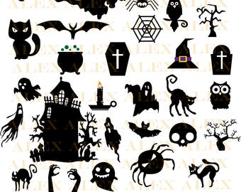 70% OFF, Halloween Svg, Halloween png, eps, svg, dxf, Halloween Clipart, Halloween Svg Silhouettes, Silhouette Files, Cut Png File