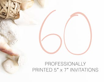 60 Professionally Printed Invitations White Envelopes Included And Free US Shipping, Printed Invitations