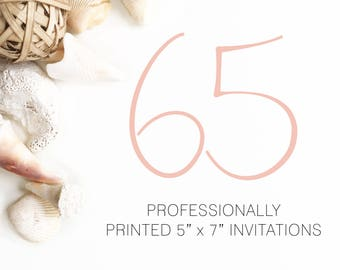 65 Professionally Printed Invitations White Envelopes Included And Free US Shipping, Printed Invitations