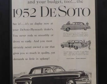 Plymouth DeSoto, Chrysler, 1952 Classic Car Ad , Vintage Ad, 1951, Illustration, Garage Decor, Man Cave Decor
