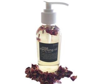 Rose Cleansing Oil - Oil Makeup Remover - Oil Cleanser - Vegan Skincare - Dry Skin Oil - Oil Cleansing Method - Oil Wash