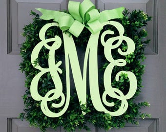 Monogram Boxwood Wreath (3 letters)