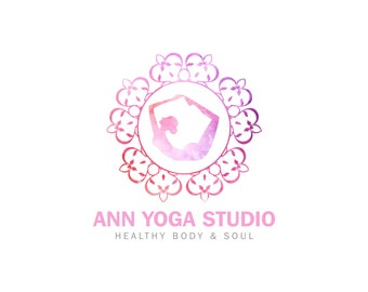 Premade Logo Design, Yoga Logo, Yoga Studio Logo Design, Yoga Business Logo, Watercolor Logo