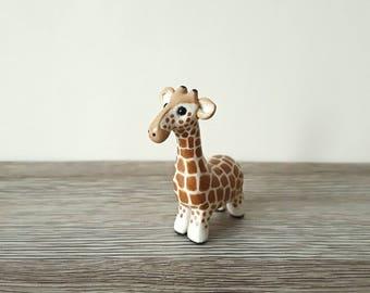 Giraffe miniature handmade hand painted polymer clay animal ornament figurine totem sculpture UK shop