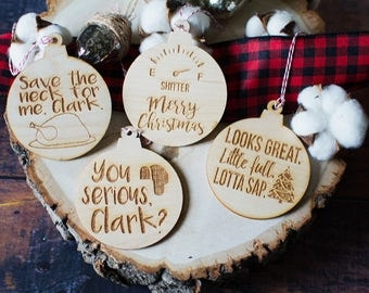 Wood Ornament Set | Set of 4 | Griswold Family Christmas | Laser Cut | Laser Engraved | Christmas Gift | Christmas Movie | Quote Ornaments