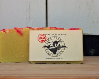 Local Grapefruit Vegan Bar Soap  /Citrus, Pink, Yellow,  Gender Neutral, Cruelty Free, Ethically Sourced, Sustainable