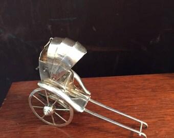 Vintage Sterling Silver Rickshaw Salt Shaker