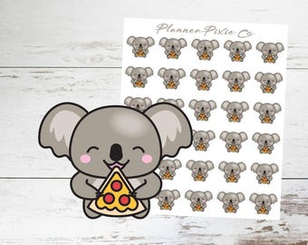 Koala Planner Stickers // Pizza // Cheat Day // 011