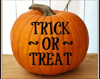 Trick or Treat Halloween Pumpkin Decal ~ Jack-o-Lantern Decal ~ DIY No Mess Pumpkin Decal ~ Pumpkin Face Sticker ~ Easy to Apply Decal ~ 1