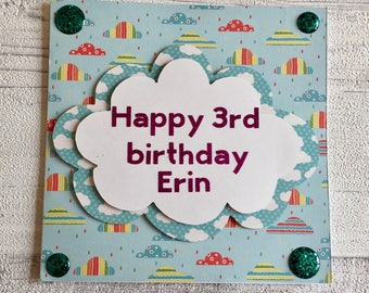 Custom made birthday card, handmade, greetings cards, personalise, customise