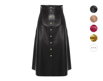 Long Maxi Leather Flared Button Skirt - Black, Red, Pink, Nude, Tan, Brown etc