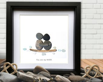 My Rock - Personalised Pebble picture. Sea Glass. Gift! Add names and personalise!