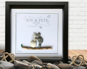 Wedding Pebble Picture Personalised Gift - Elegant - Pebble and Sea Glass. Love, Marriage, Gift. (Can also make Anniversary etc)