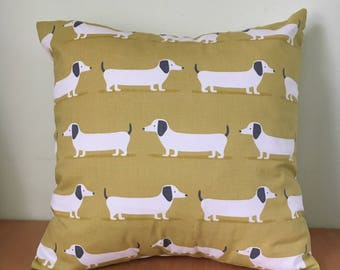 Sausage dog, dachshund throw cushion cover.