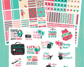 Travel Planner Stickers, Vacation Planner Stickers, Vacay Sticker Kit, Travel Sticker Quotes, Printable Planner Stickers, Digital Stickers