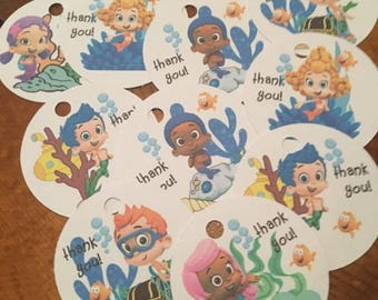 12 Bubble Guppies Party Favor Thank You Tags (can be personalized)