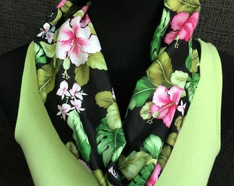 Tropical Scarf, Infinity Scarf, Rain Forest Scarf, Hibiscus, Patterned Scarf, Fern Scarf, Unique Scarf, Hawaii, Flower Scarf, Cowl