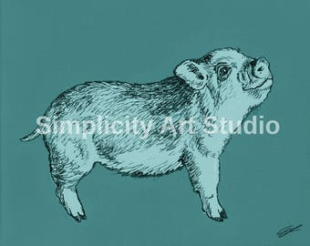 Piglet Pig Original Artwork Prints / Various Colors Available/ Various Sizes Available