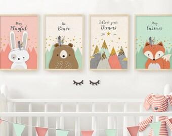 Neutral nursery prints, Nursery print, Set of 4, Woodland nursery prints,  Forest