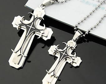 Couple Lover Necklace Cross Pendant Stainless Steel