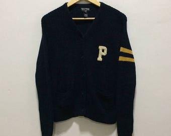 BIG SALE Vintage Polo Jeans Co. Ralph Lauren Big P Spellout Hip Hop Polo 92 P Wing Snow Beach Knit Sweater
