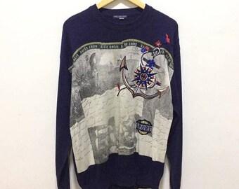 BIG SALE Vintage Hardy Amies Sport Knit Sweater Spellout Hip Hop Fashion Swag Sweatshirt