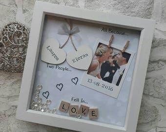 Anniversary Gift, Wedding Gift, Personalised Frame Scrabble, Gifts for Her, Gifts For Him, Gift for Partner, Photo Frame Keepsake Love