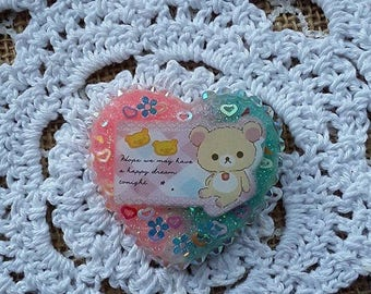 Kawaii blue and pink rilakuma heart resin