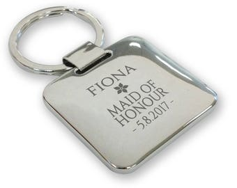 Personalised engraved MAID OF HONOUR wedding keyring gift, silver plated deluxe pillow square keyring - SQU17