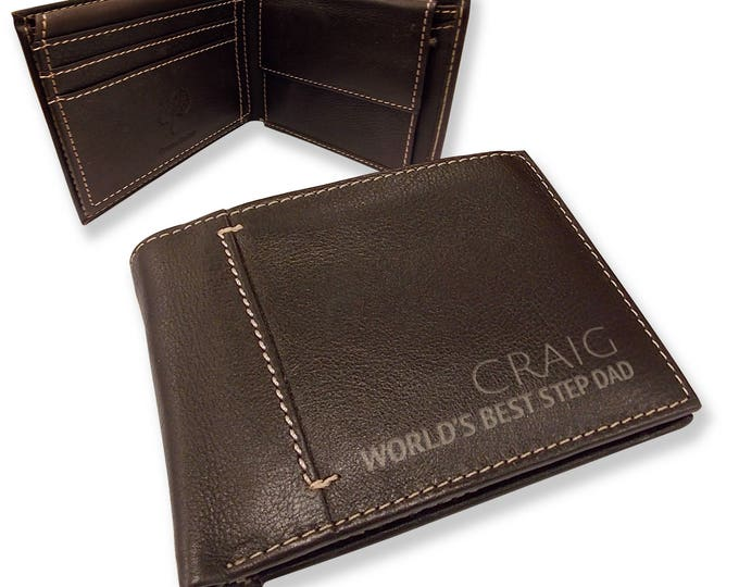 Personalised engraved mens LEATHER WALLET gift with coin purse, World's Best step dad bifold personalized wallet - JOSL12