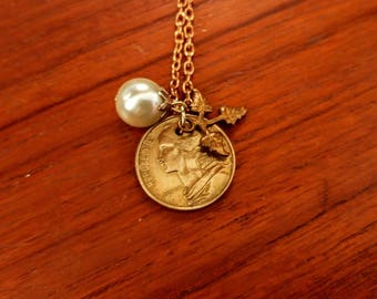 French coin charm necklace