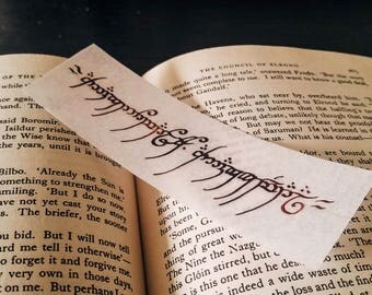 Lord of the Rings - Ring Inscription Handmade Bookmark - Elvish Tengwar Calligraphy - Tolkien - Middle Earth