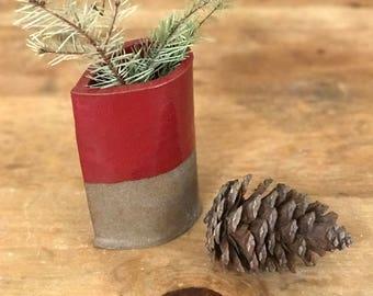 Floral Vase Ceramic Pottery Handmade Red Teardrop