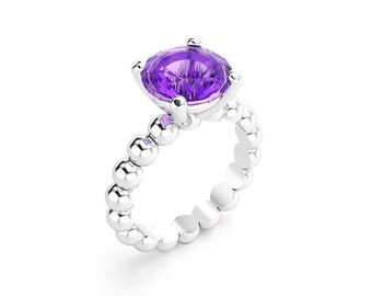 Ring Amethyst silver indiscreet set claws