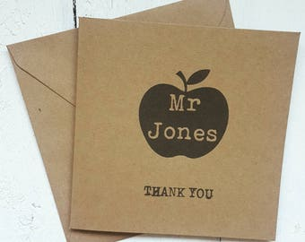 Thank you teacher card - personalised thank you teacher card - thanks Mr miss teacher card - handmade card - kraft card