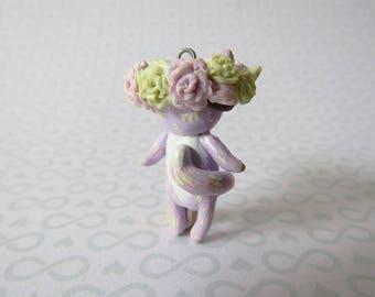 Pastel Flower Crown Cat Charm