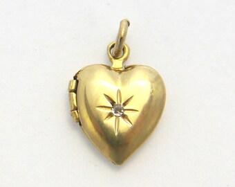 14k Vintage Diamond Heart Locket, Small Heart Locket in Yellow Gold with small Diamond WEH 14K