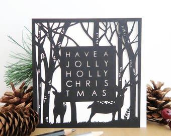 Deer Christmas card, Christmas reindeer card, Merry Christmas card, Religious Christmas card, Holiday card, Christmas card set