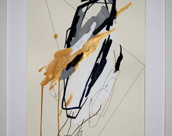 Original abstract illustration, no. 0634, mixed media on paper, 35x50cm. 2017