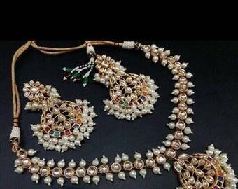 Beautiful Ethnic Ratan Kudan and Pearl necklace set